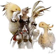 Chocobo & Miqo'te Male from Final Fantasy XIV: A Realm Reborn