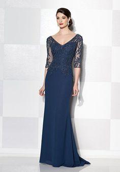Three-quarter sleeve Italian chiffon slim A-line gown, illusion V-neckline and back, hand-beaded sweetheart bodice, inset sweep train.