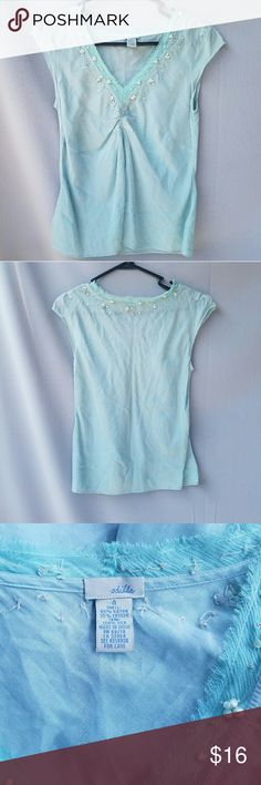 ANTHROPOLOGIE: Odille Light Blue Beaded Top Excellent condition. One bead missing--not noticible at all.  Feel free to ask me any additional questions! Bundles 15% off 3+ items. Happy Shopping!! Anthropologie Tops