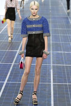 More sheer Chanel…the stripes of the jacket and styling of shoes remind me of Prada 2011.