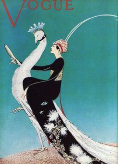 Vogue cover. Woman riding a white peacock.
