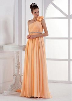 Grand One Shoulder A-line Floor-length Circle Yellow Tone Special Occasion Dresses