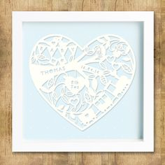 New Baby boy Personalised Papercut Framed by KatieElliottDesigns