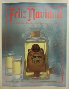 1980 Tequila Cuervo 1800 Feliz Navidad Vintage Christmas Print Ad