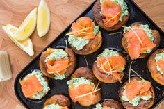Cold Smoked Salmon With Crushed Peas in Mini Yorkshire Puddings with Horseradish