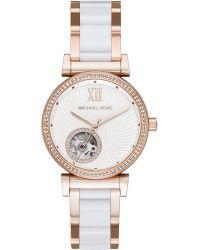 Michael Kors Catlin Pavé Rose Goldtone Stainless Steel & Ceramic Skeleton Watch pink - Lyst
