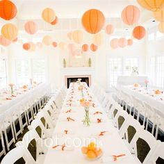 Orange Paper Lanterns- think soft clementine hued elegance. photo by: Think Photographics Orange Wedding Reception Reception Table, Wedding Reception Decorations, Wedding Themes, Wedding Colors, Wedding Styles, Our Wedding, Wedding Lanterns, Wedding Seating, Casual Wedding