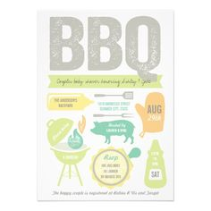 BBQ Barbecue Neutral Couples Baby Shower Summer Custom Announcement
