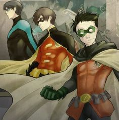 Dick Grayson, Tim Drake and Damian Wayne