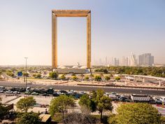 located in zabeel park, the structure is made from two 150 meter-tall towers (492 feet) connected at the top by a 93 meter (305 feet) glass bridge.