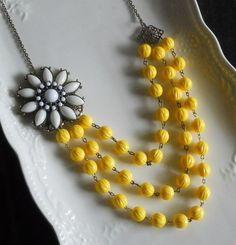 Vintage-Style White Flower Statement Necklace  by AdornmentsbyWendi on Etsy, $26.00