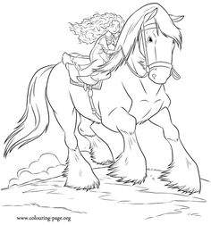 In this awesome coloring page, Merida heads out on an adventure with her horse Angus! Have fun coloring it.