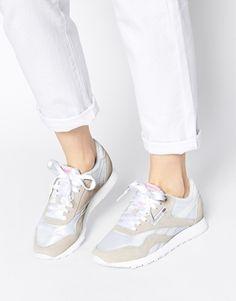 Reebok CL Nylon White & Grey Trainers