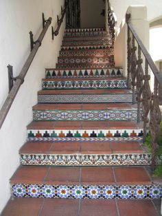 Stairs made with Mexican hand painted tiles Painted Tiles, Hand Painted, Mexican Tiles, Stairs, House, Ideas, Home Decor, Stairway, Decoration Home