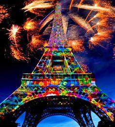 Rainbow colors ❖de l'arc-en-ciel❖❶Toni Kami Colorful Eiffel Tower fireworks