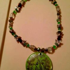 Necklace in greens
