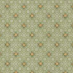 Orange on Green Small Flowers Vintage Wallpaper | 1950s Vintage Antique Wallpaper