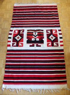 "Vintage Mayan Aztec man, stripe, and symbols red burgundy cream black large fringed blanket or rug 80""X46"" by eclecticvintageboho on Etsy"