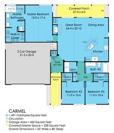 Ranch Style House Plan - 3 Beds 2 Baths 1491 Sq/Ft Plan #489-1 Main Floor Plan - Houseplans.com