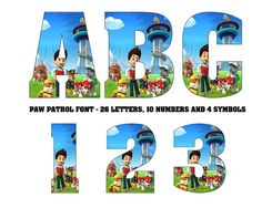 PAW PATROL FONT - Paw Patrol Letters - Paw Patrol clipart - Instant download - digital file