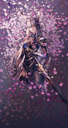 View an image titled 'Lenneth & Cherry Petals Art' in our Valkyrie Anatomia: The Origin art gallery featuring official character designs, concept art, and promo pictures. Fantasy Characters, Female Characters, Anime Characters, Fantasy Warrior, Fantasy Girl, Art Manga, Anime Art, Female Character Design, Character Art