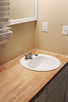 Butcher Block Bathroom Countertop. Ikea Butcher Block They Kept Their Old Sink Too No Reason Throwing It Out If You Dont Have To