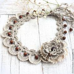 Купить Колье вязаное из льна. В стиле бохо. - бохо, женское колье, колье вязаное