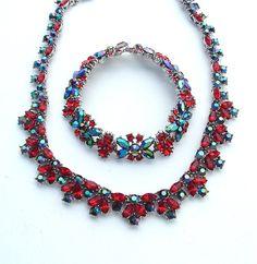 TRIFARI Party Ruby Red Rhinestone Bib Art Deco Style by kiamichi7