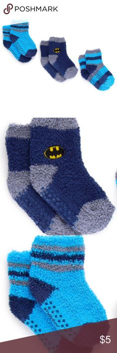 Batman Infant/Toddler's Cozy Socks - 3 Count Cozy Batman socks with grip bottom for better traction 98% polyester, 2% spandex Machine wash Infant / toddler sizing 3 count By DC Comics Batman Accessories Socks & Tights