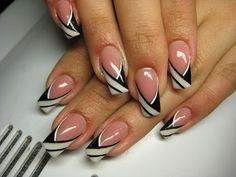 French Nails - Hello my page Fancy Nails Designs, Silver Nail Designs, Nail Tip Designs, French Nail Designs, Pretty Nail Designs, Acrylic Nail Designs, Acrylic Nails, French Nails, Jolie Nail Art