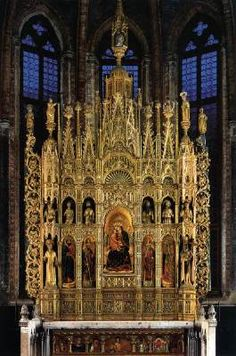 STEFANO DI SANT'AGNESE Polyptych of the Virgin  1385 and c. 1444 Panels, 320 x 600 cm San Zaccaria, Venice   The polyptych together with two others, all executed by Antonio Vivarini and Giovanni d'Alemagna, are in the Chapel of San Tarasio in the church of San Zaccaria.