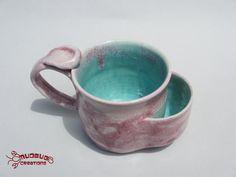 Teabag Mug  Pink and Seafoam by MudbugCreations on Etsy, $17.00