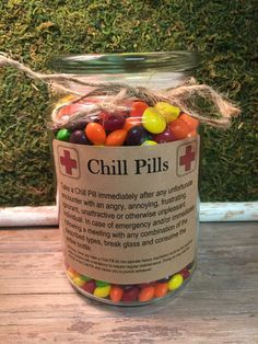 Funniest Chill Pill Jar VARIOUS THEMES Having a bad day? Take a chill pill! This fun Chill Pill jar (candy not included) makes a perfect gift for anyone who appreciates a little humor Staff Gifts, Grad Gifts, Nurse Gifts, Teacher Gifts, Teacher Bags, Student Gifts, Employee Appreciation Gifts, Employee Gifts, Employee Morale