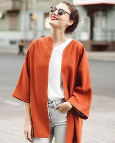 Spring coat by SumarokovaAtelier on Etsy Burnt Orange Color, Cardigan Fashion, Wool Cardigan, Wool Coat, Style Me, Winter Fashion, Normcore, Street Style, Style Inspiration