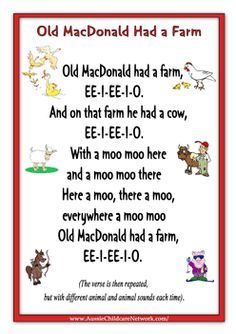 Ideas baby animals kindergarten teaching for 2019 Nursery Rhymes Lyrics, Nursery Rhymes Songs, Kindergarten Songs, Preschool Songs, Kindergarten Classroom, Preschool Ideas, Rhyming Activities, Farm Activities, Songs For Toddlers