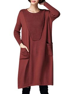 Sale 22% (51.62$) - Casual Women Elegant Long Sleeve Solid Color Loose Knitted Dress