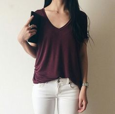 maroon v-neck + white jeans