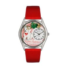 Whimsical Watches Christmas Puppy Red Leather And Silvertone Watch