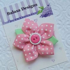 Boutique Pink Swiss Dot Star Flower Hair Clip Bow by Balasadesigns