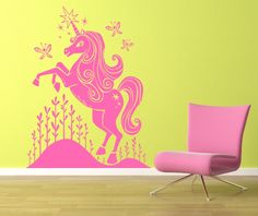 Kids Wall Decals - Unicorn Butterfly Fantasy - Vinyl Decal Nursery Wall Art - Personalized Color Choice