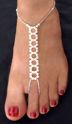 Pair of Hand Made Bare Foot Sandal Bridal Beach Jewellery Anklet might need these