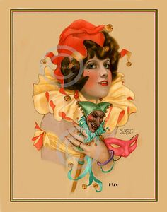 Whimsical Art Deco Lady Jester Print Girl by DragonflyMeadowsArt