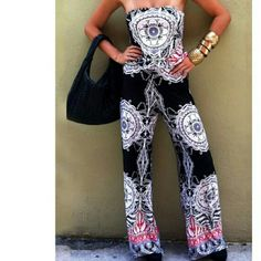 Strapless boho jumpsuit Arrives next week. Available in small, medium and large, so please comment and I will make a listing for you. Cute boho print and a soft poly fabric. Loose fit and cinches at the natural waist. Throw it on and go, but look great doing it!! So comfy and easy to wear. Pants Jumpsuits & Rompers