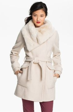 ** Ivanka Trump Faux Fur Trim Wrap Coat available at Nordstrom 218 Wrap Coat, Winter Jackets Women, Ivanka Trump, Fur Trim, Runway Fashion, Faux Fur, Personal Style, Cute Outfits, Nordstrom