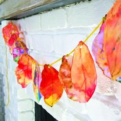 Coffee Filter Leaf Garland, possible idea for our graditude tree?