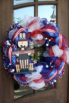 July Fourth 4th Patriotic Mesh Wreath 26 by CellaJaneCreations, $99.00