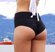Black High Waist Tailored Cheeky Bikini Bottoms   DOUBLE CLICK ON IMAGE to find out more info on product and pricing. #Couture#BikiniBottom#Cheeky#Tailor#Gathered#HighWaist
