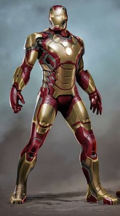 """Concept art of the Mark 42 armor from """"Iron Man 3"""" (2013)."""
