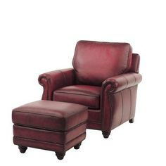 Red Barrel Studio Farrier Leather Clab Chair And Ottoman Upholstery: Oxblood