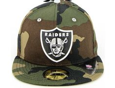 Custom NEW ERA x NLF「Oakland Raiders Woodland Camo」59Fifty Fitted Baseball  Cap Fitted cb9df6a39c1